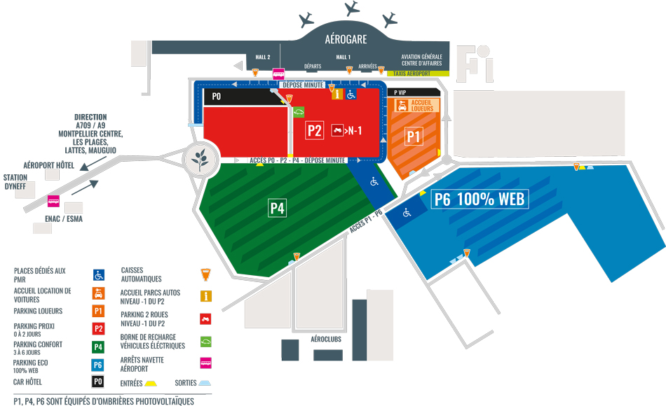 Plan des parkings de l 39 a roport de montpellier a roport - Tarif parking salon de l agriculture ...